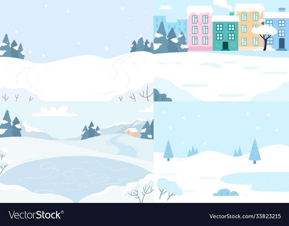 Winter landscapes collection snow season
