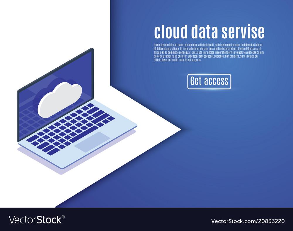 Cloud data storage web hosting isometric server