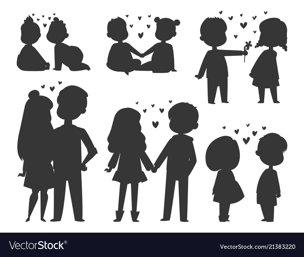 Couple in love characters silhouette