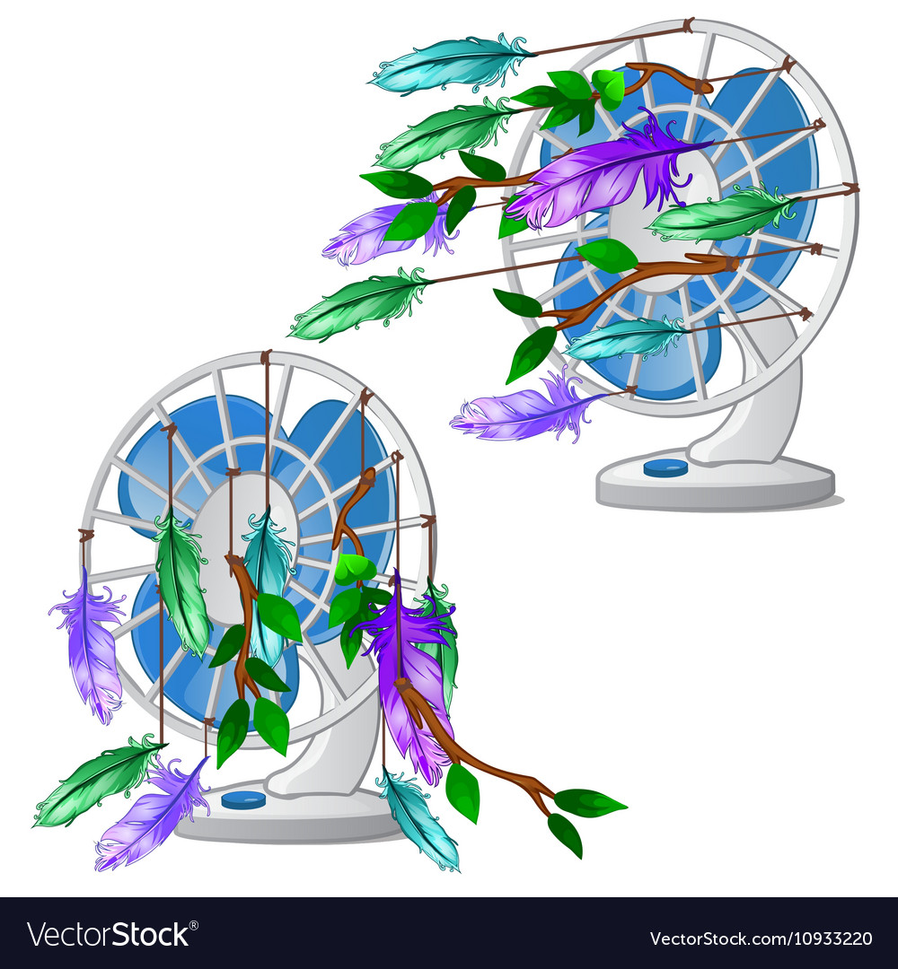 Desktop fan with colorful feather isolated