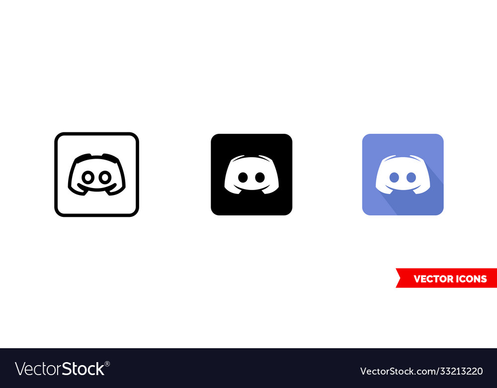 Discord icon 3 types color black and white