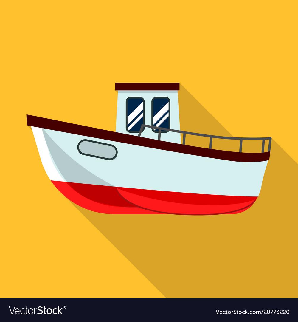 Fishing ship icon flat style