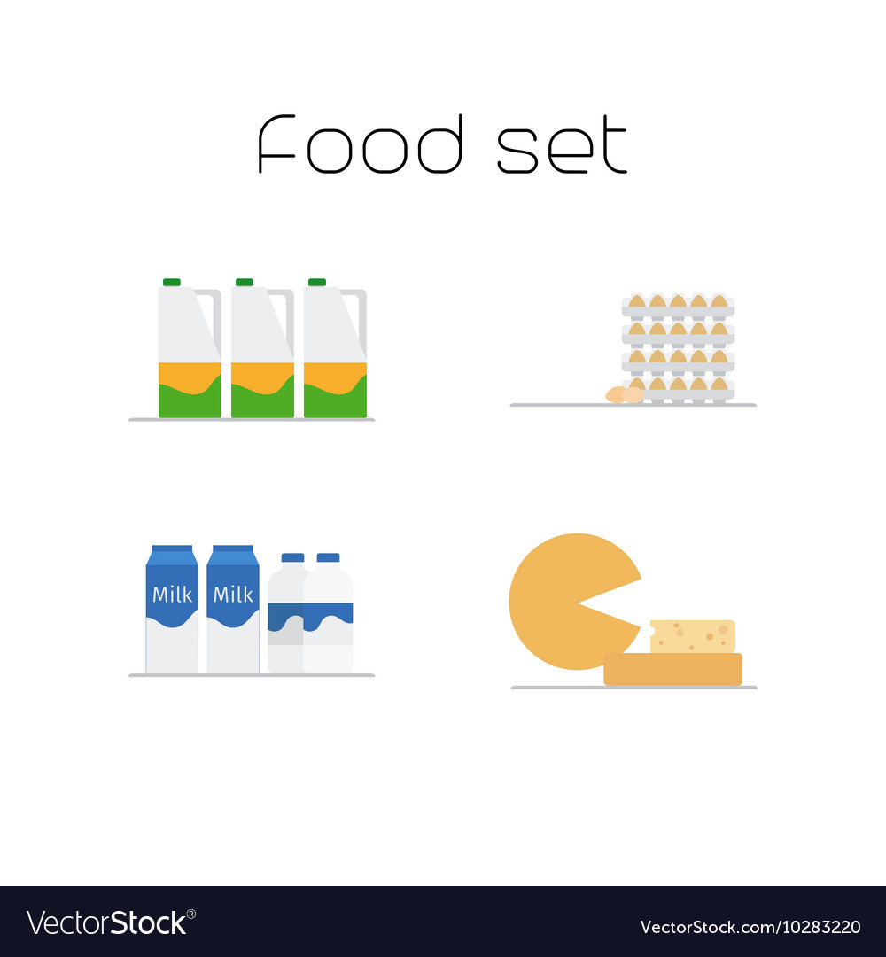 Foods market milk and eggs icons