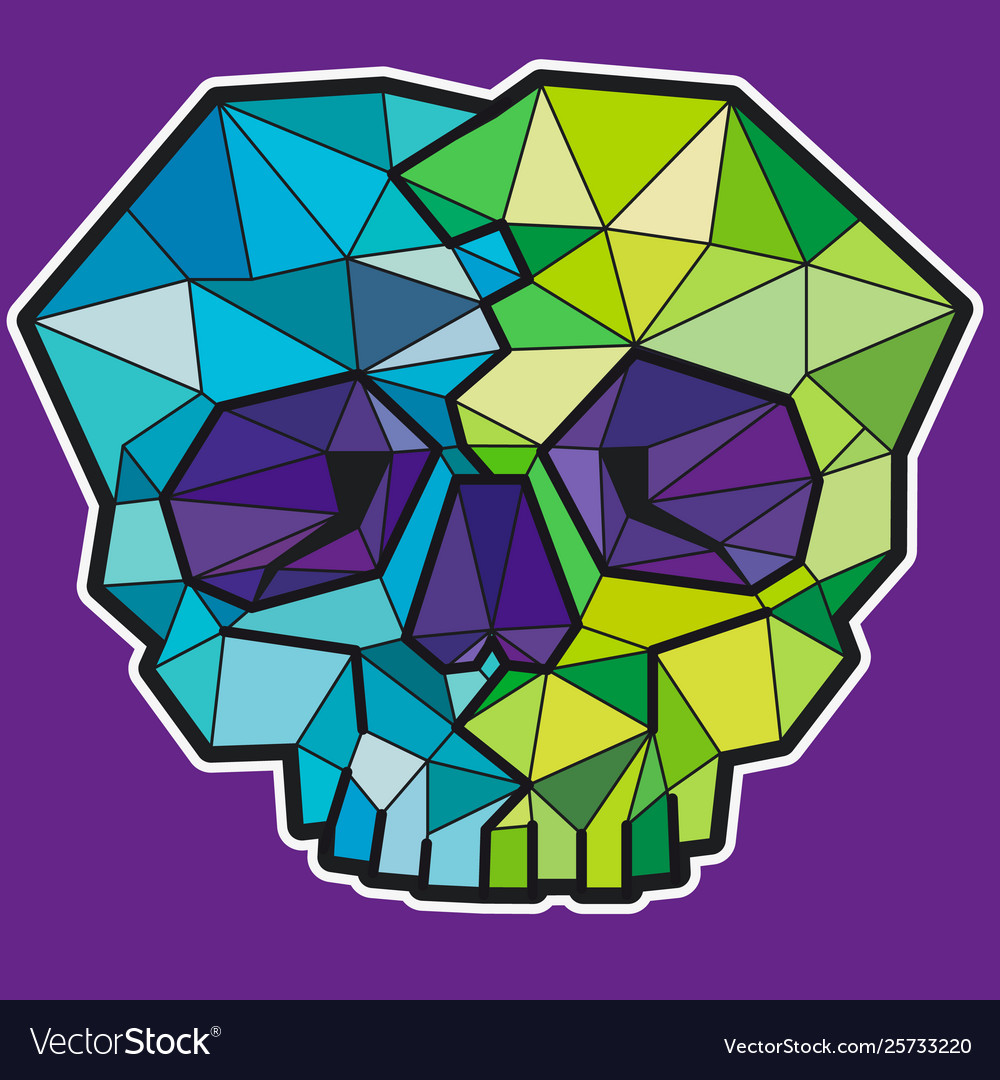 Funny geometric colorful skull icon or sticker