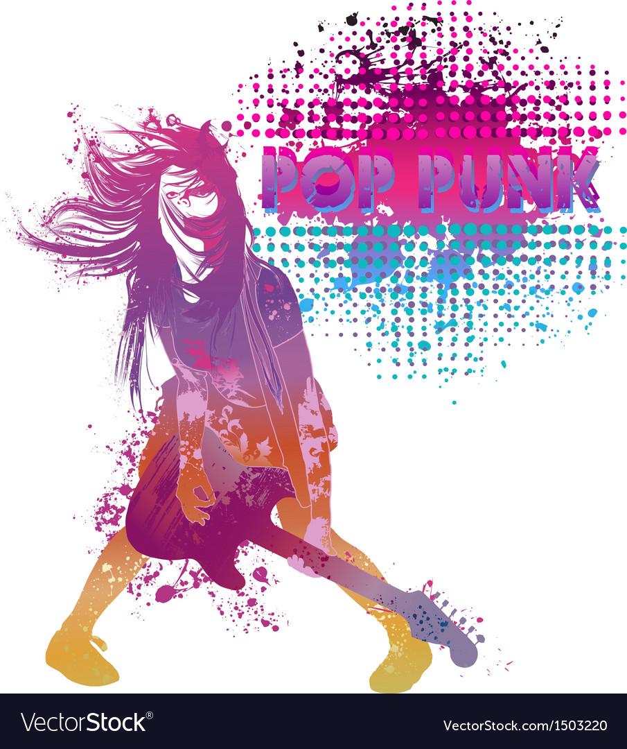 Girl playing guitar pop punk vector image