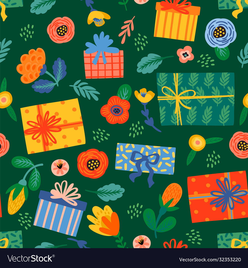 Happy birthday seamless pattern with cute gift