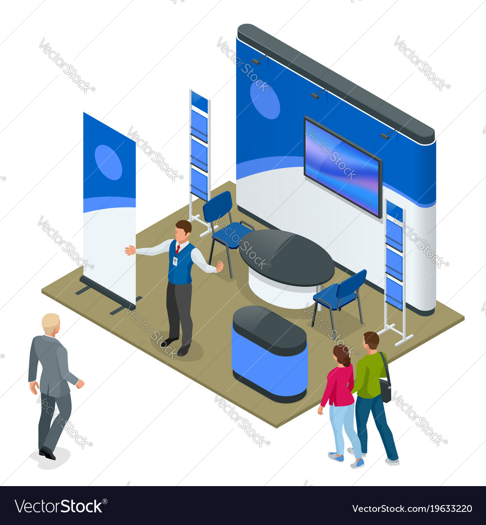 Isometric set of promotional stands or exhibition vector image