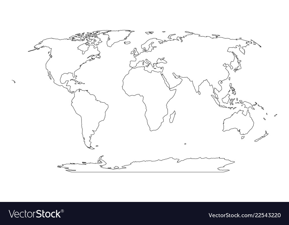 Simple World Map Outline Outline map of world simple flat Royalty Free Vector Image