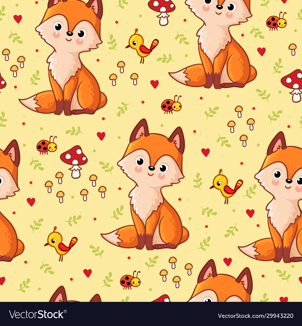 Seamless pattern with a fox on a background