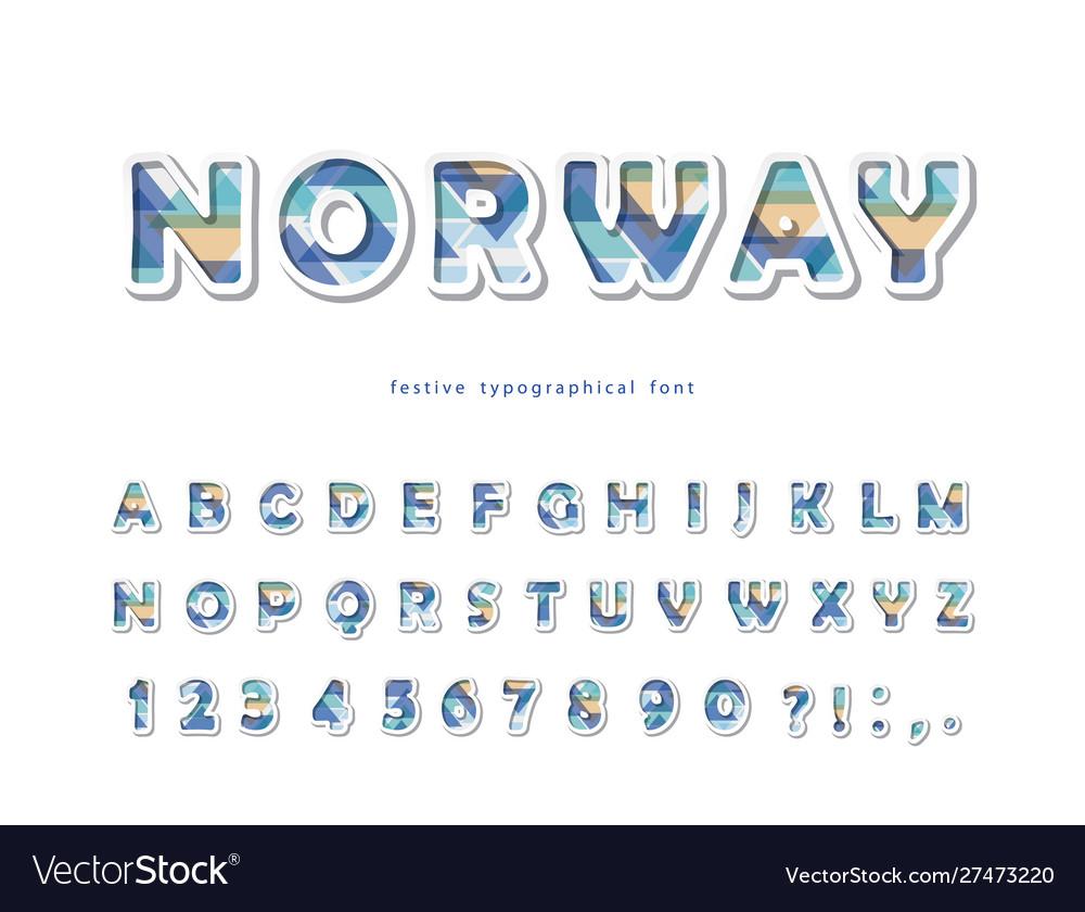 Skandinavian style font modern 3d alphabet cut