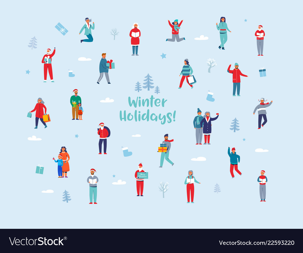 Winter holidays characters happy people
