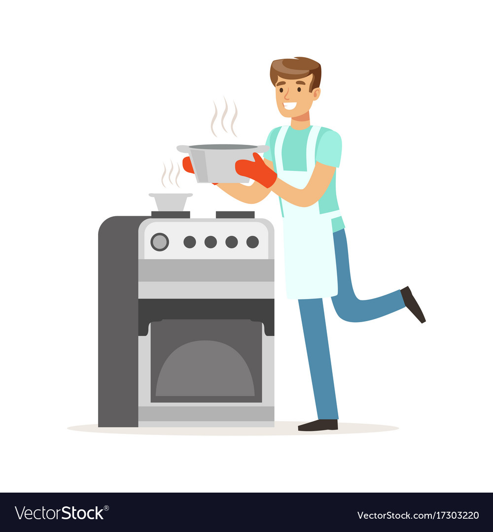 Young smiling man cooking in the kitchen house Vector Image