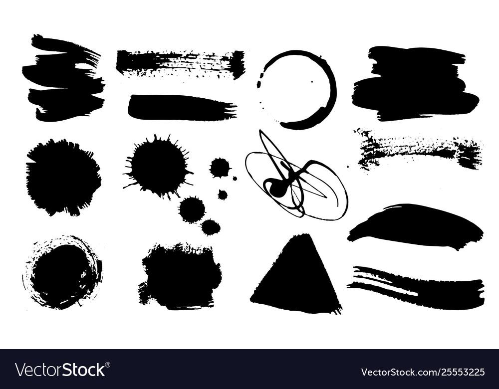 A set grunge ink drops dirty artistic design