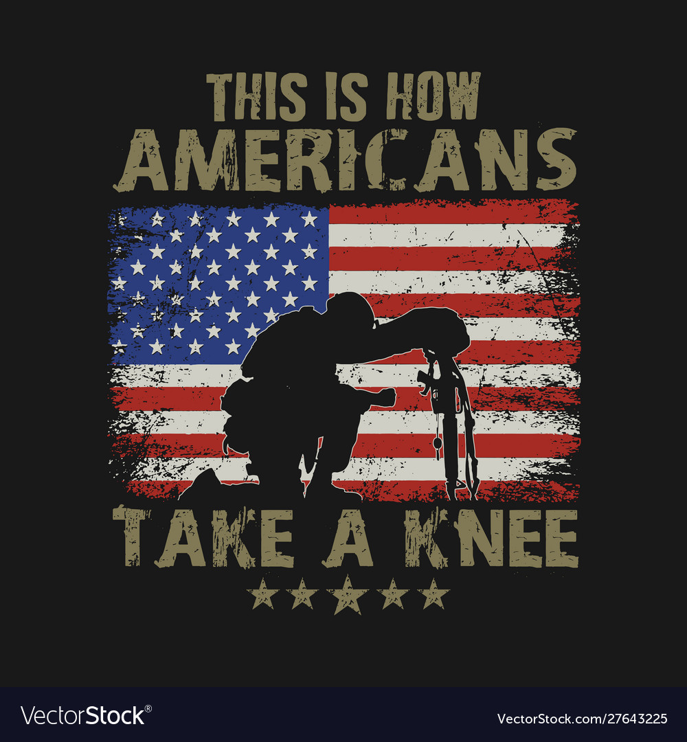 Americans kneel for veteran vector