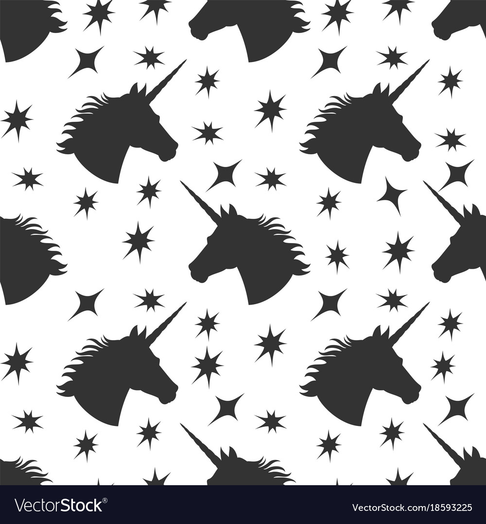 Black unicorn silhouette with stars seamless