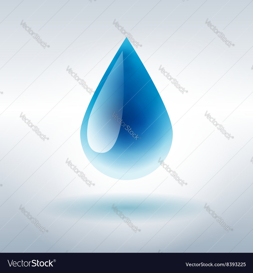 Blue shiny water drop