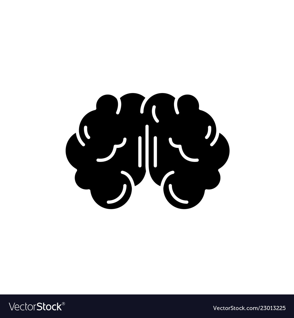 Brain black icon sign on isolated