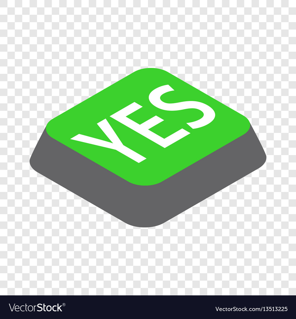 Click yes button isometric icon