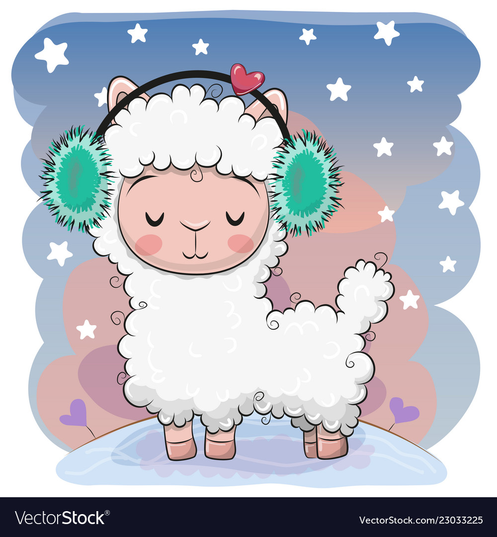 Cute cartoon alpaca with fur headphones