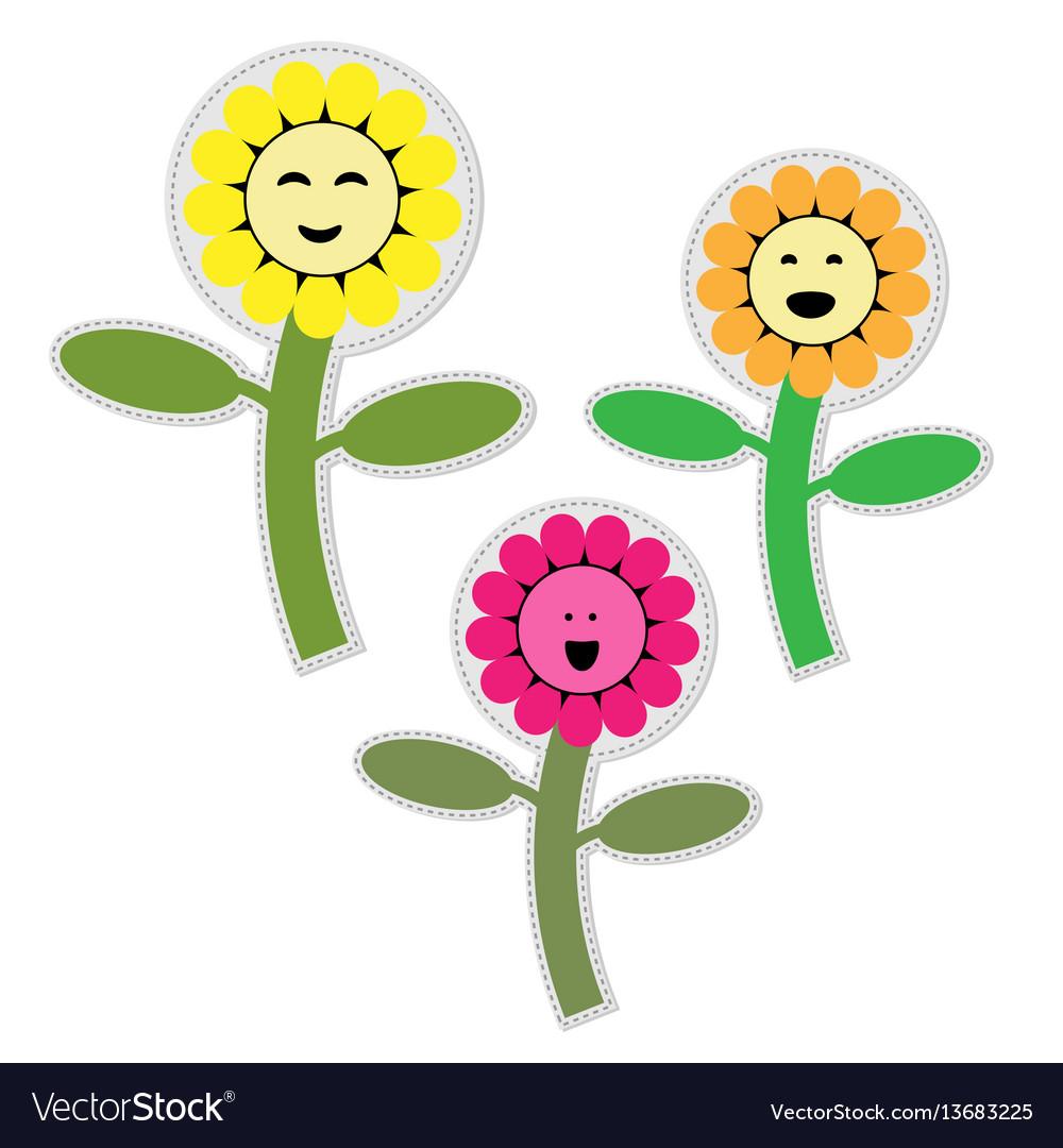 Cute flower garden isolated icon