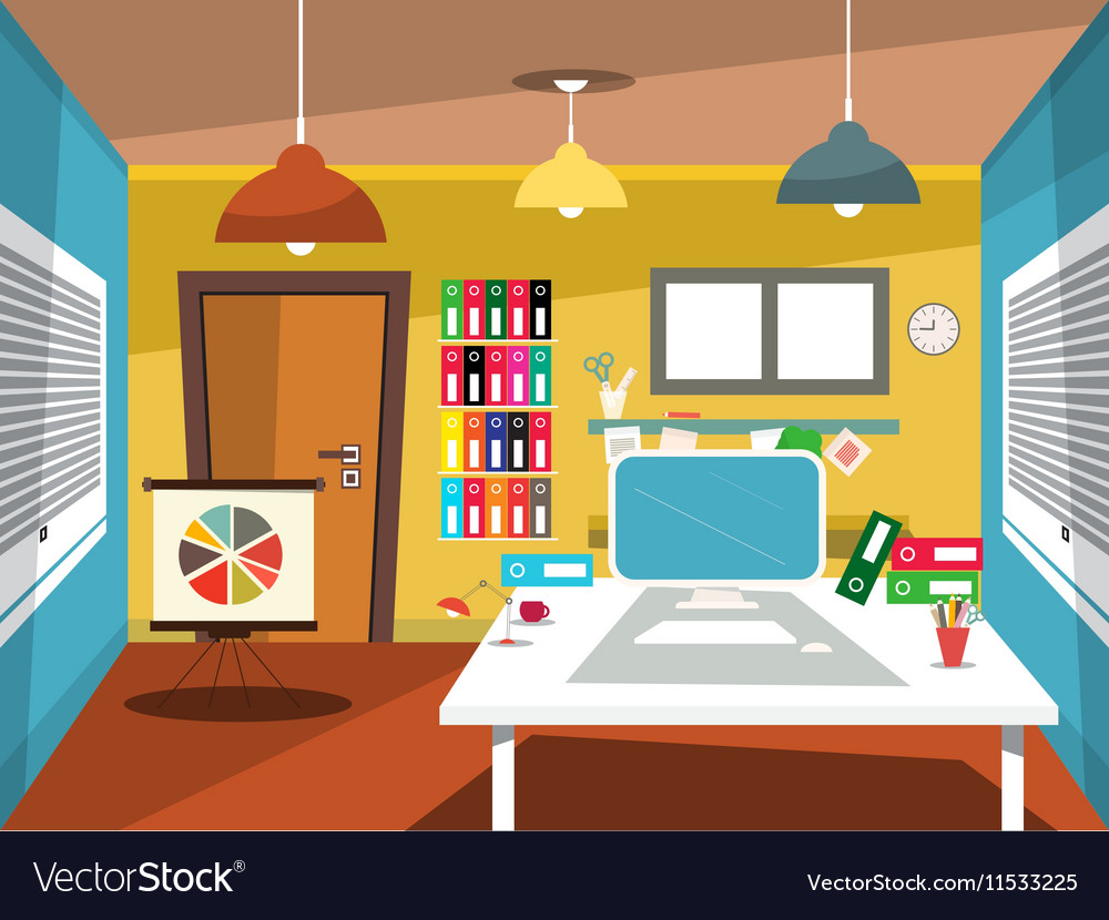 Empty Office Room Studying Room Cartoon Royalty Free Vector