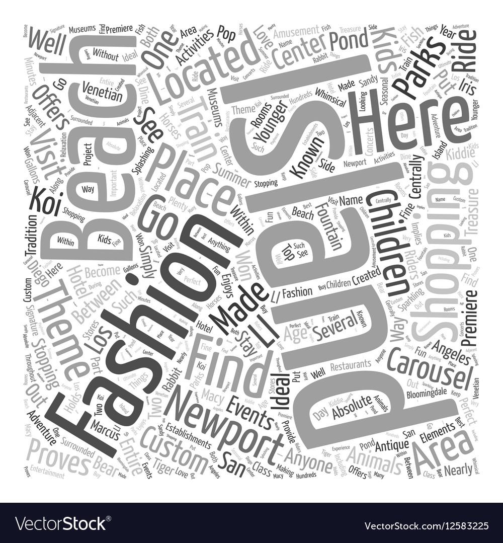 Fashion Island Newport Beach Word Cloud Concept