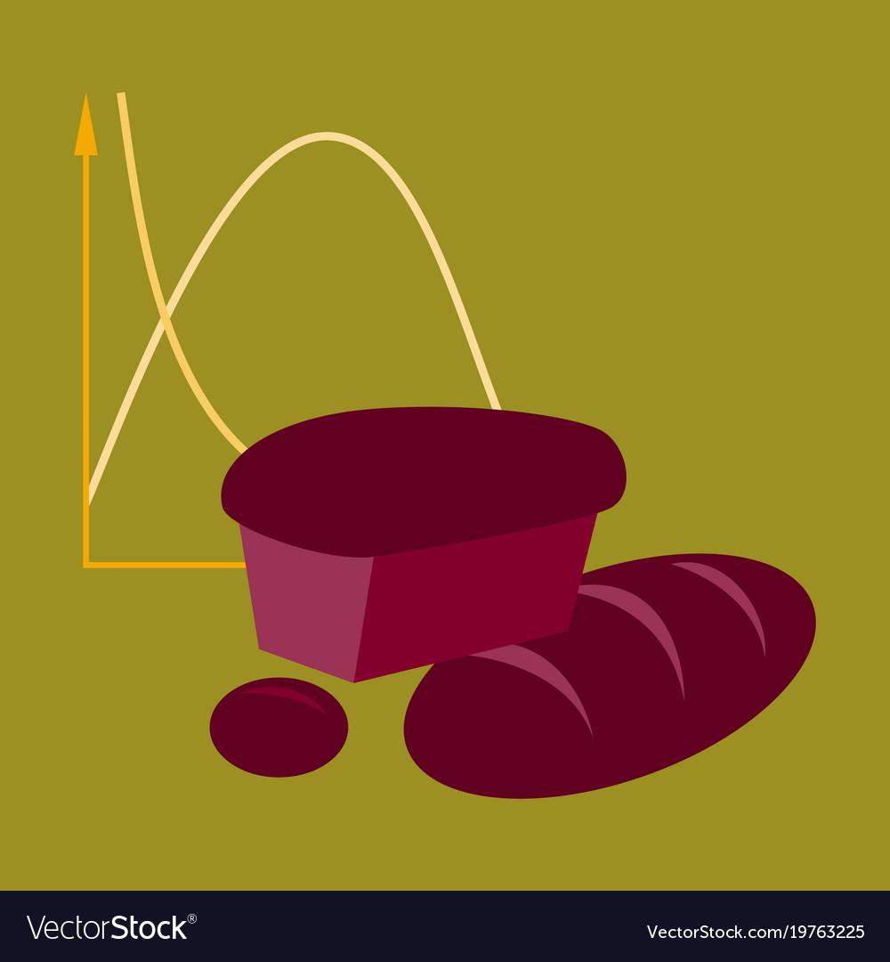Flat icon on stylish background bread chart