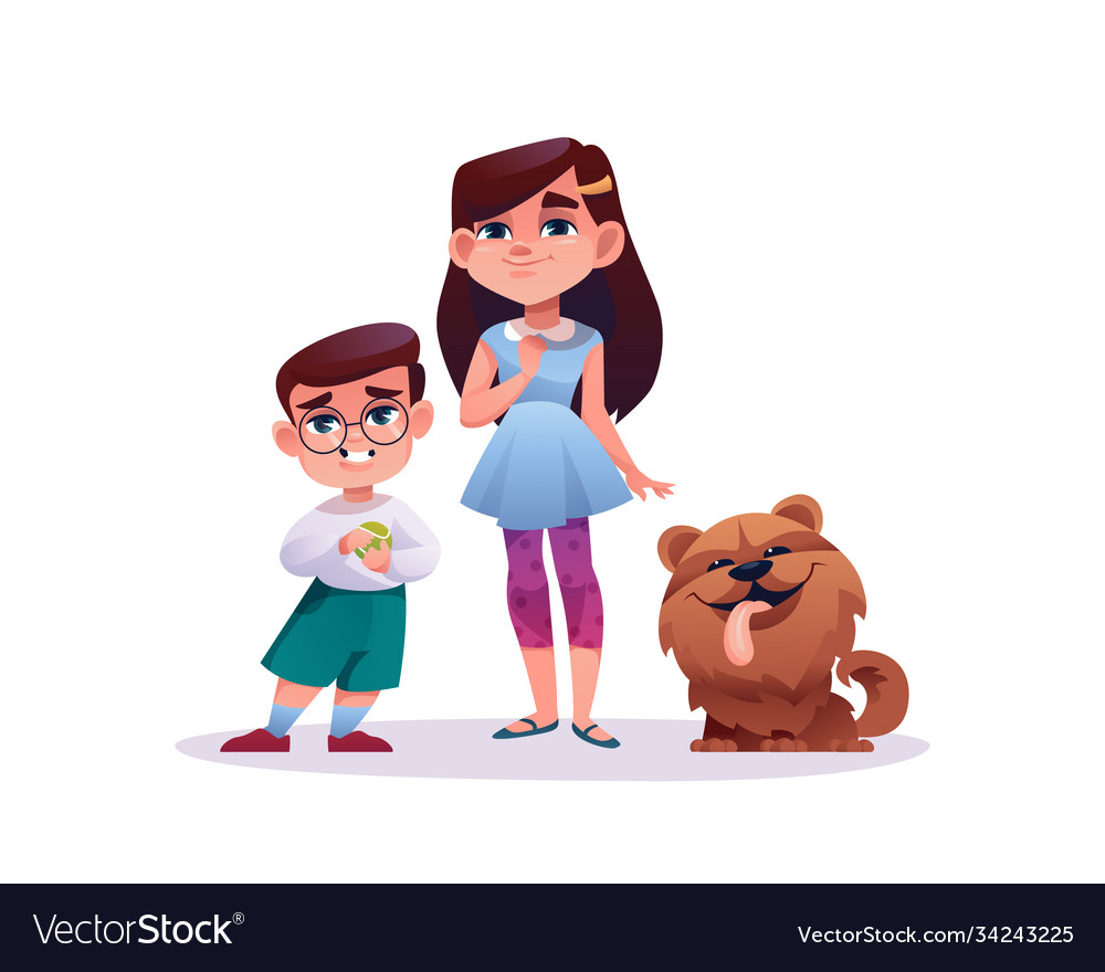Girl and boy with dog pet cartoon style characters