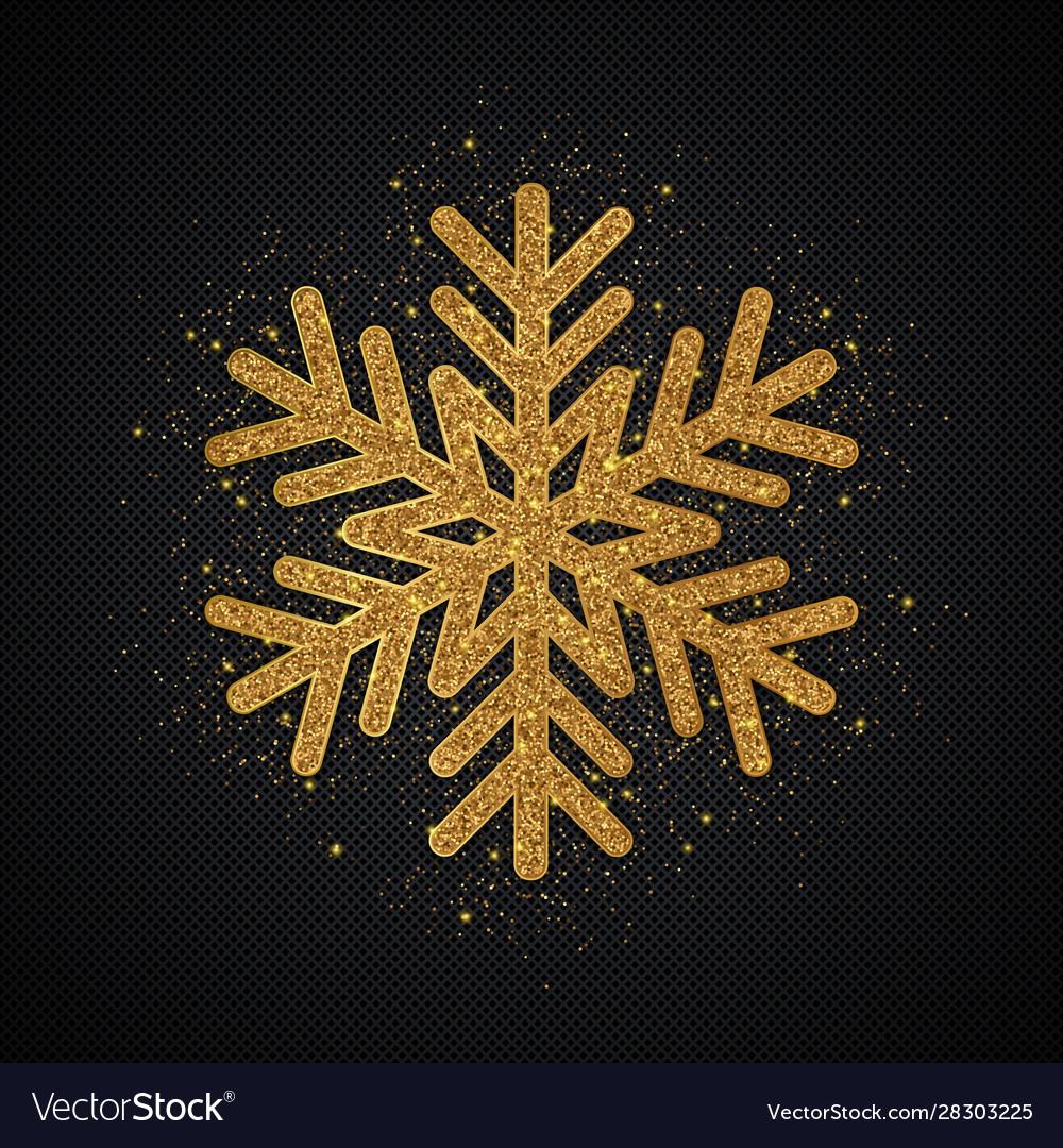 Gold glitter snowflake christmas background