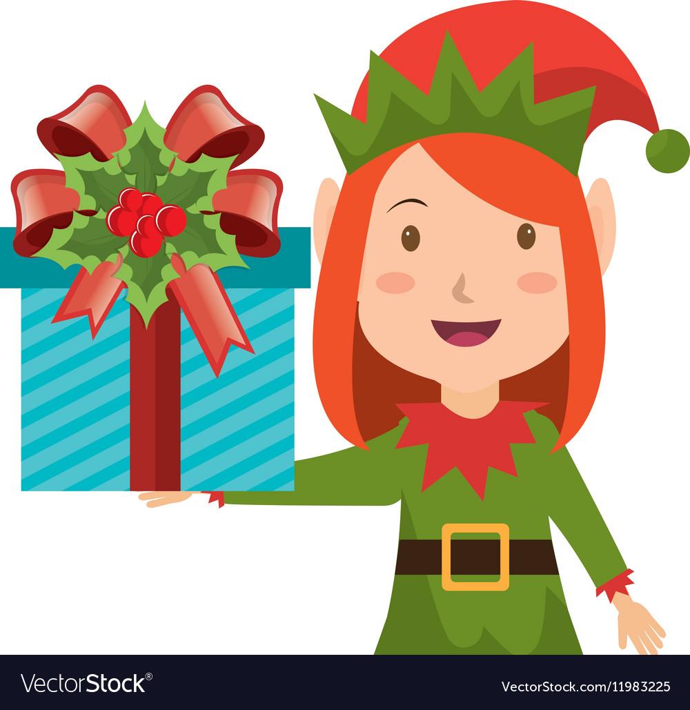 happy merry christmas elf character vector image - Merry Christmas Elf