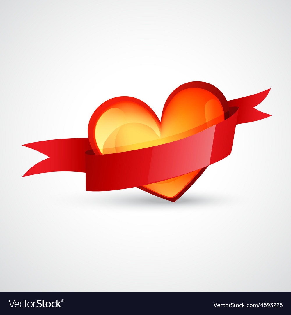 Heart design with red ribbon