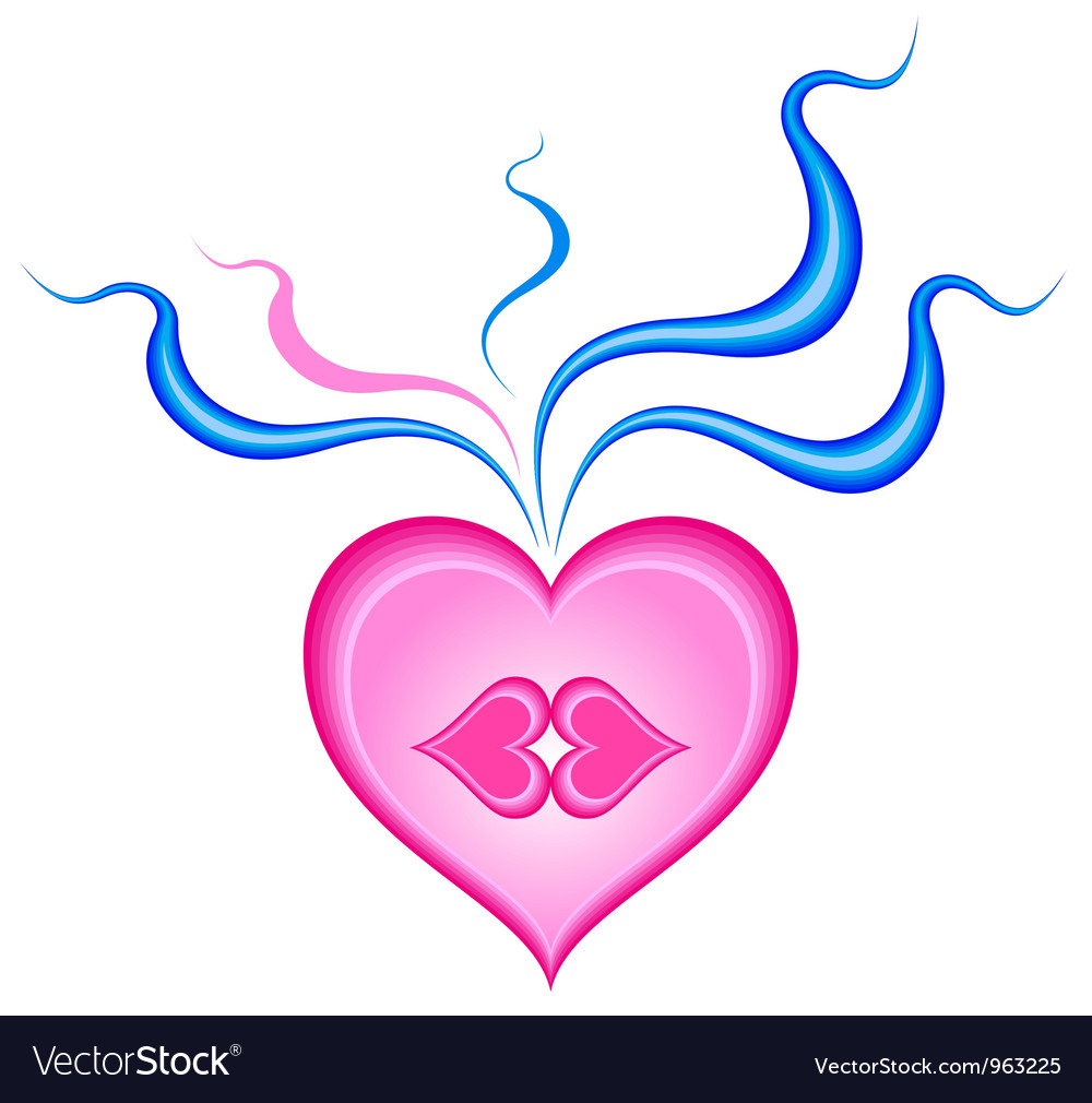 Heart with kissing lips in him vector image
