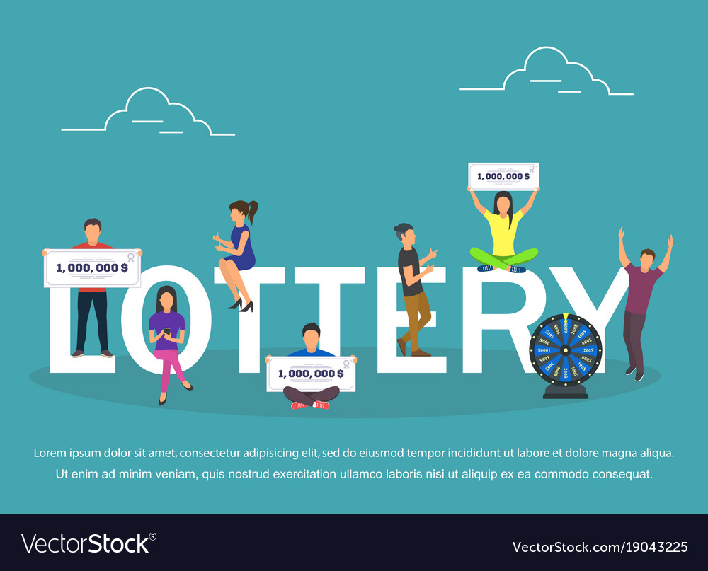 Lottery concept set with winning combinations flat