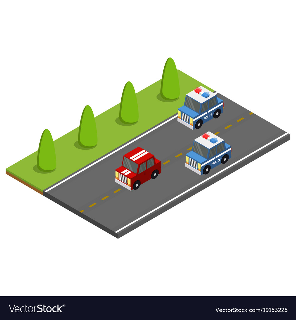 Police on the car chasing the offender isometric