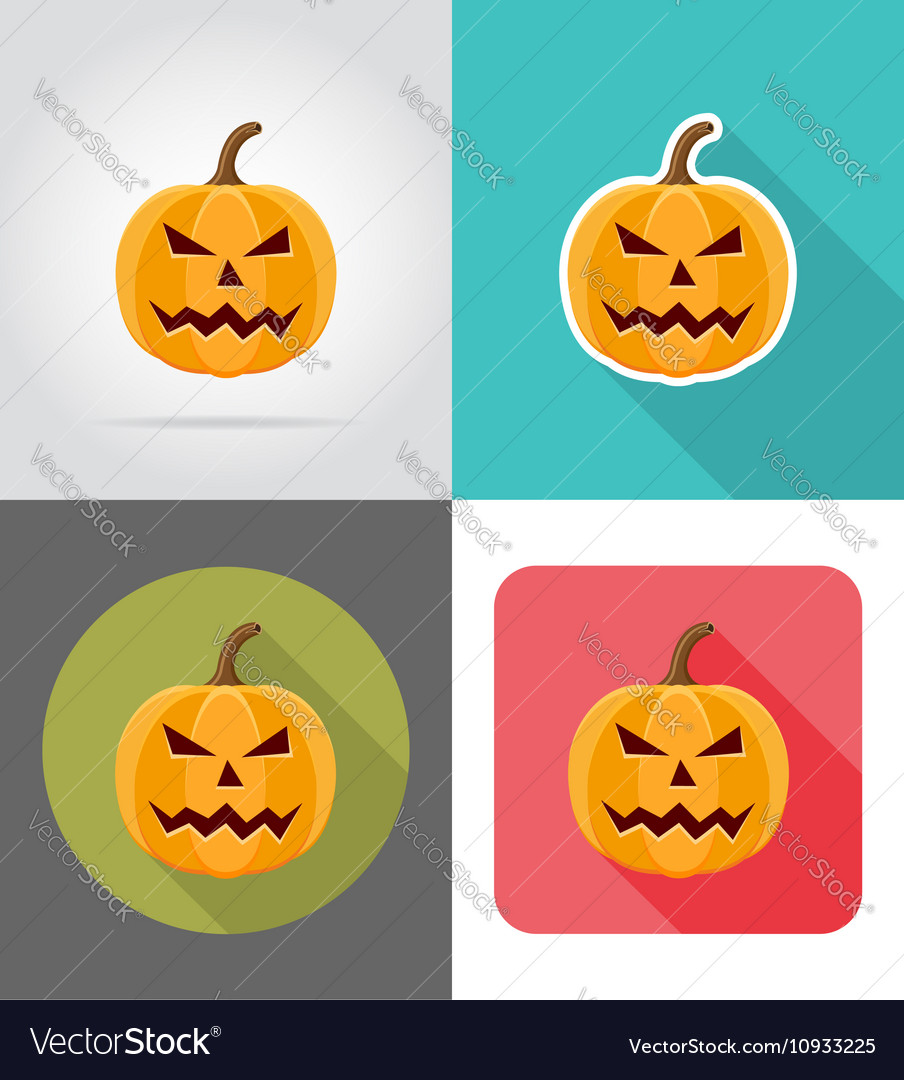 Pumpkins for halloween flat icons 02 vector image