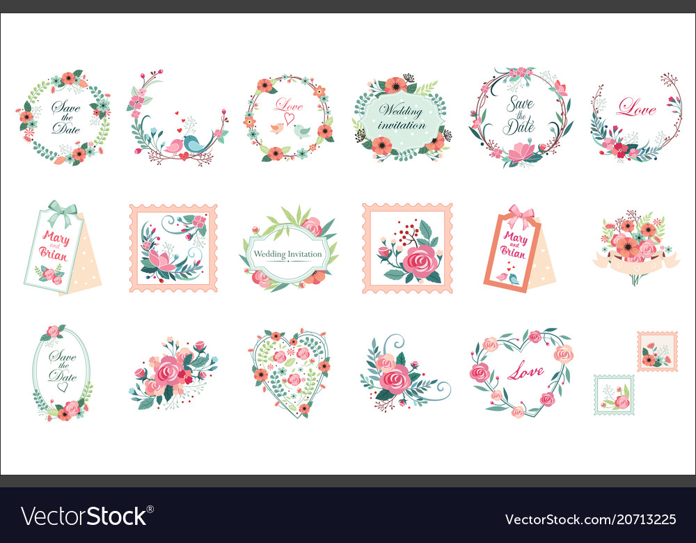 Set of beautiful floral frames borders and