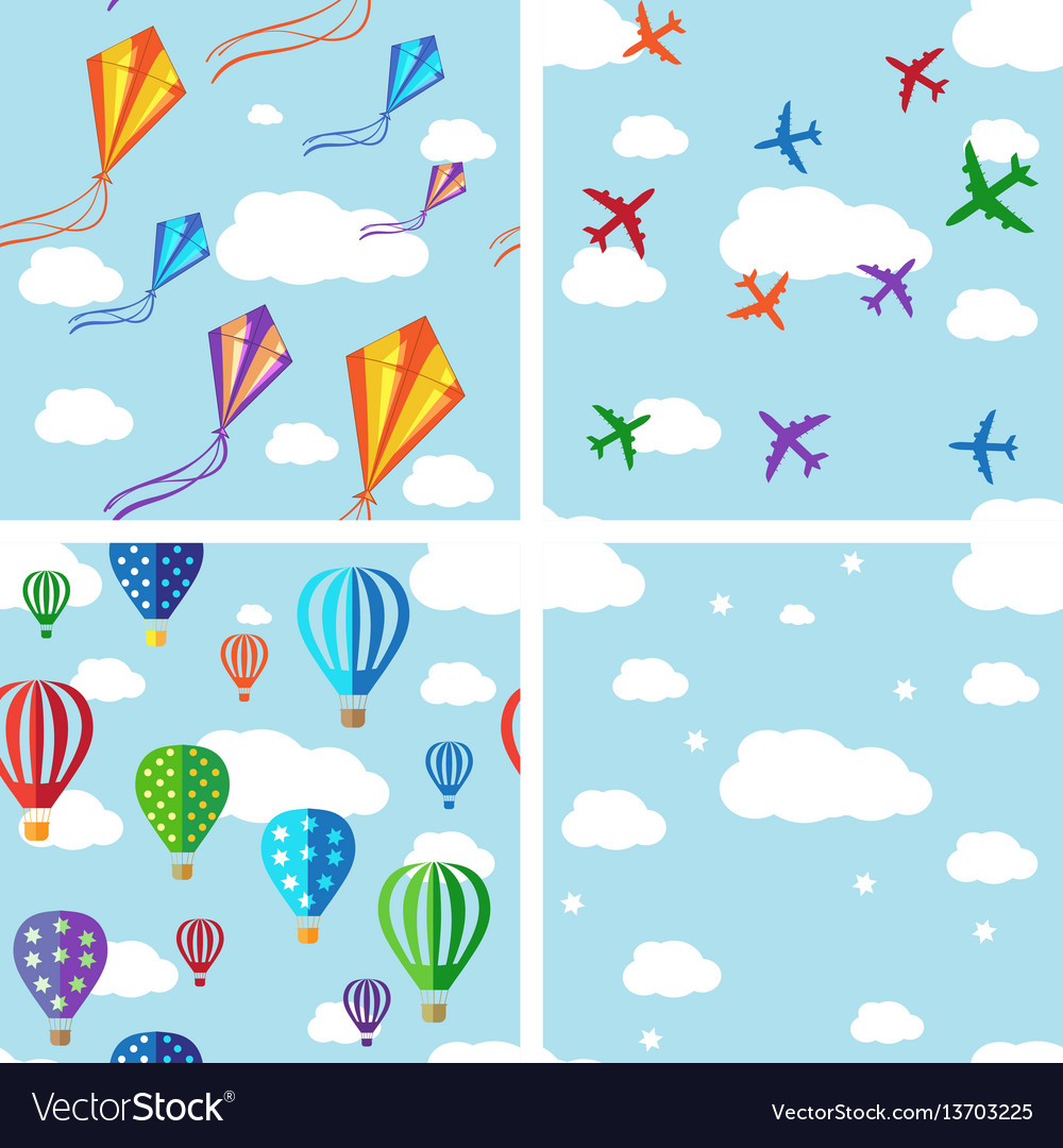 Set of seamless pattern on blue sky vector image