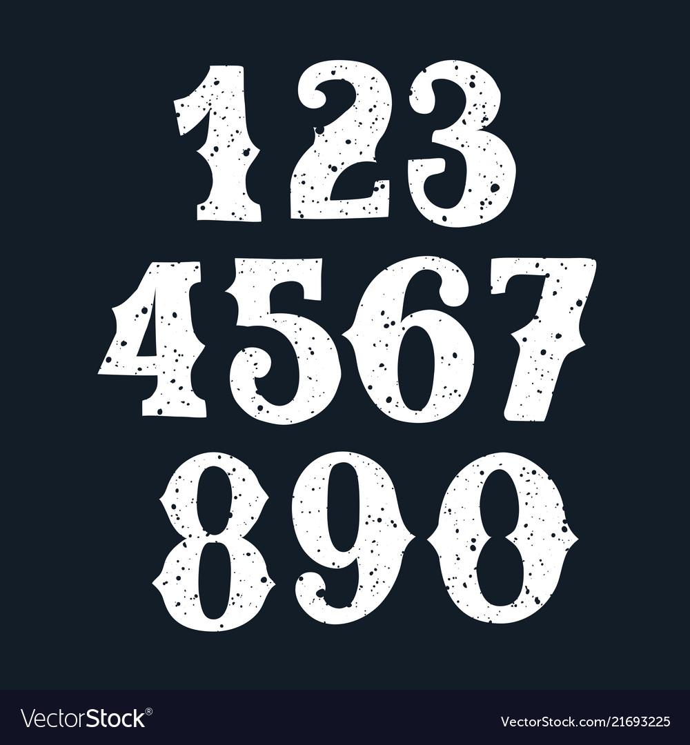 Set of vintage numbers stamp