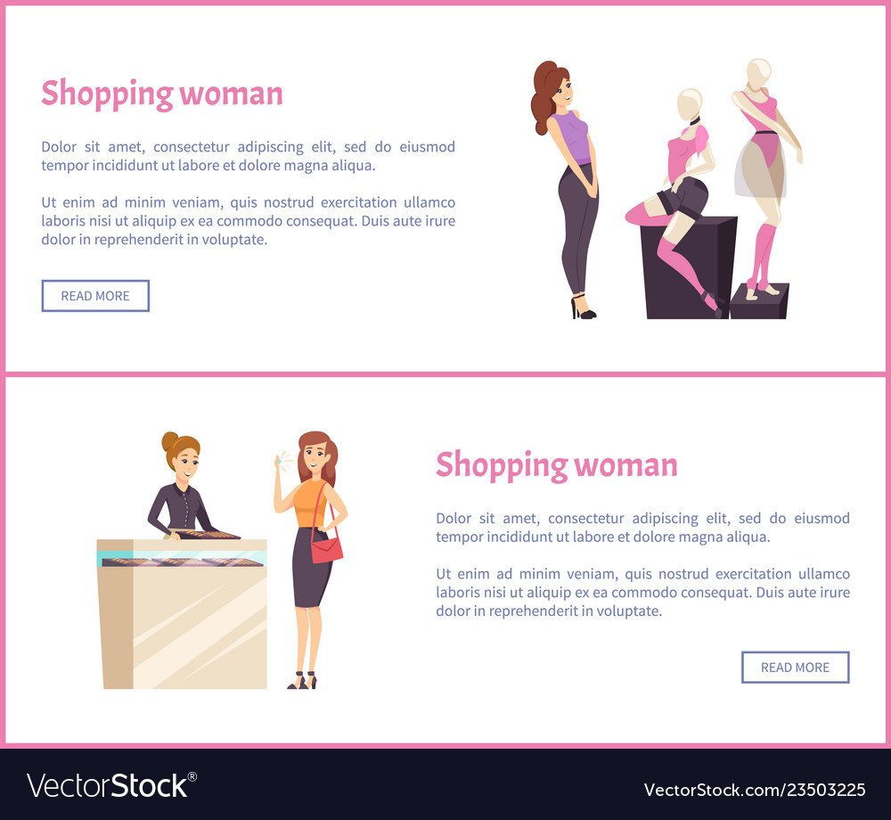 Shopping woman web posters female fashion brands