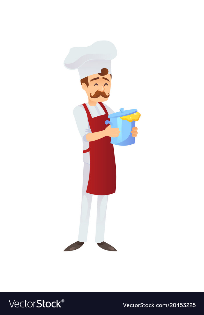 Smiling adult chef with pot