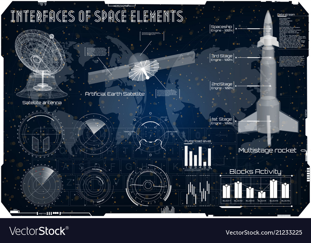 Space background hud space rocket