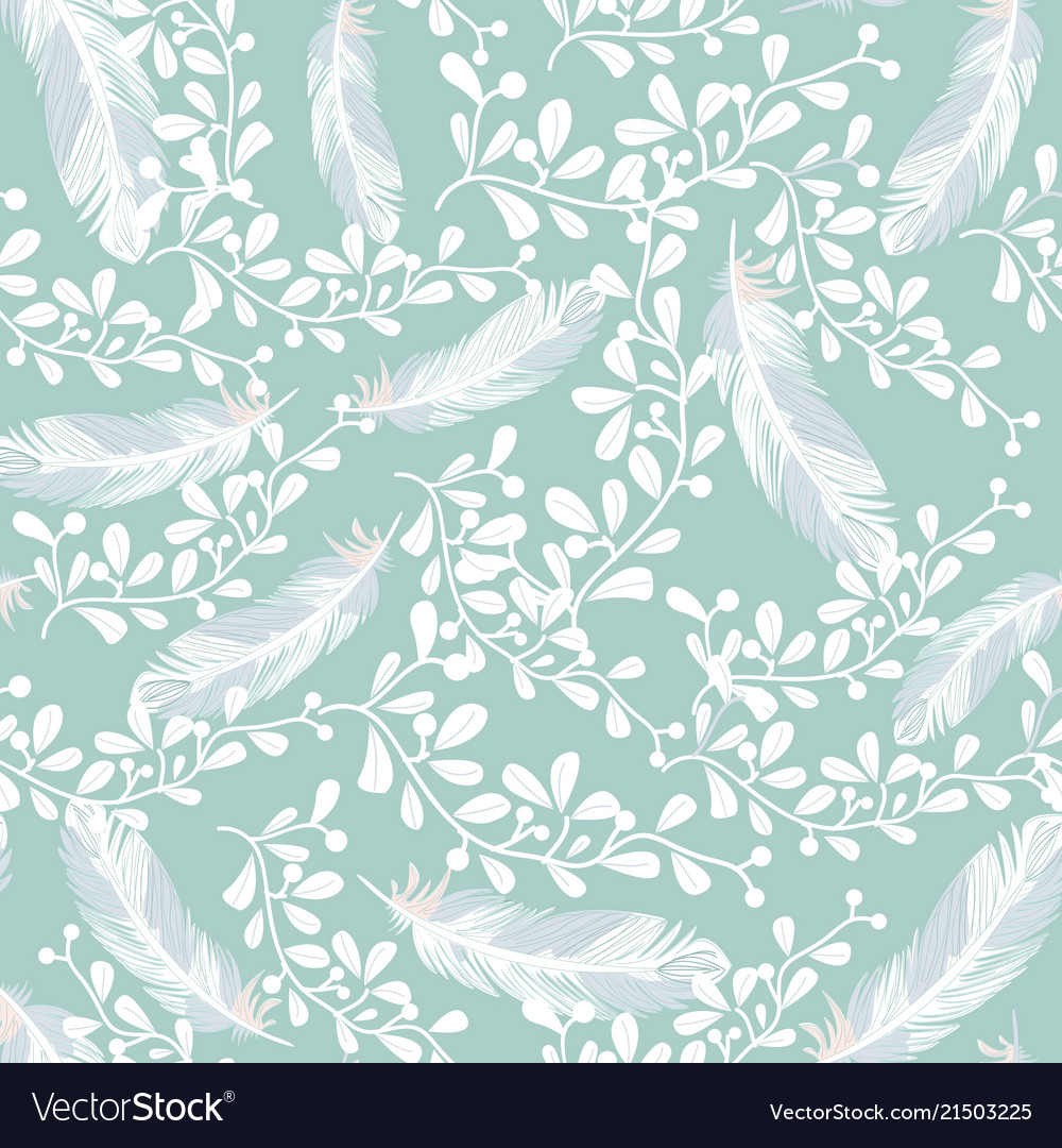 Sweet blue and white feathers seamless pattern