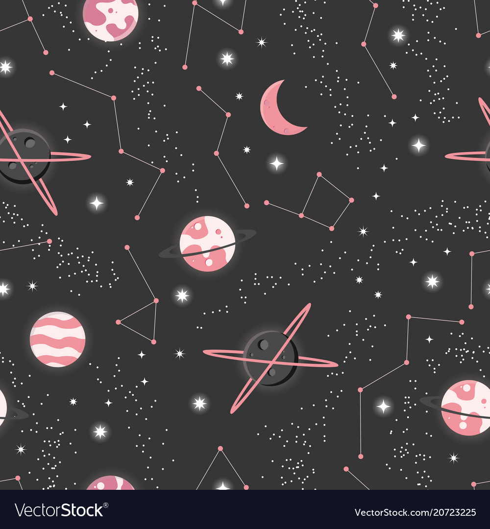 Universe with planets and stars seamless pattern vector image
