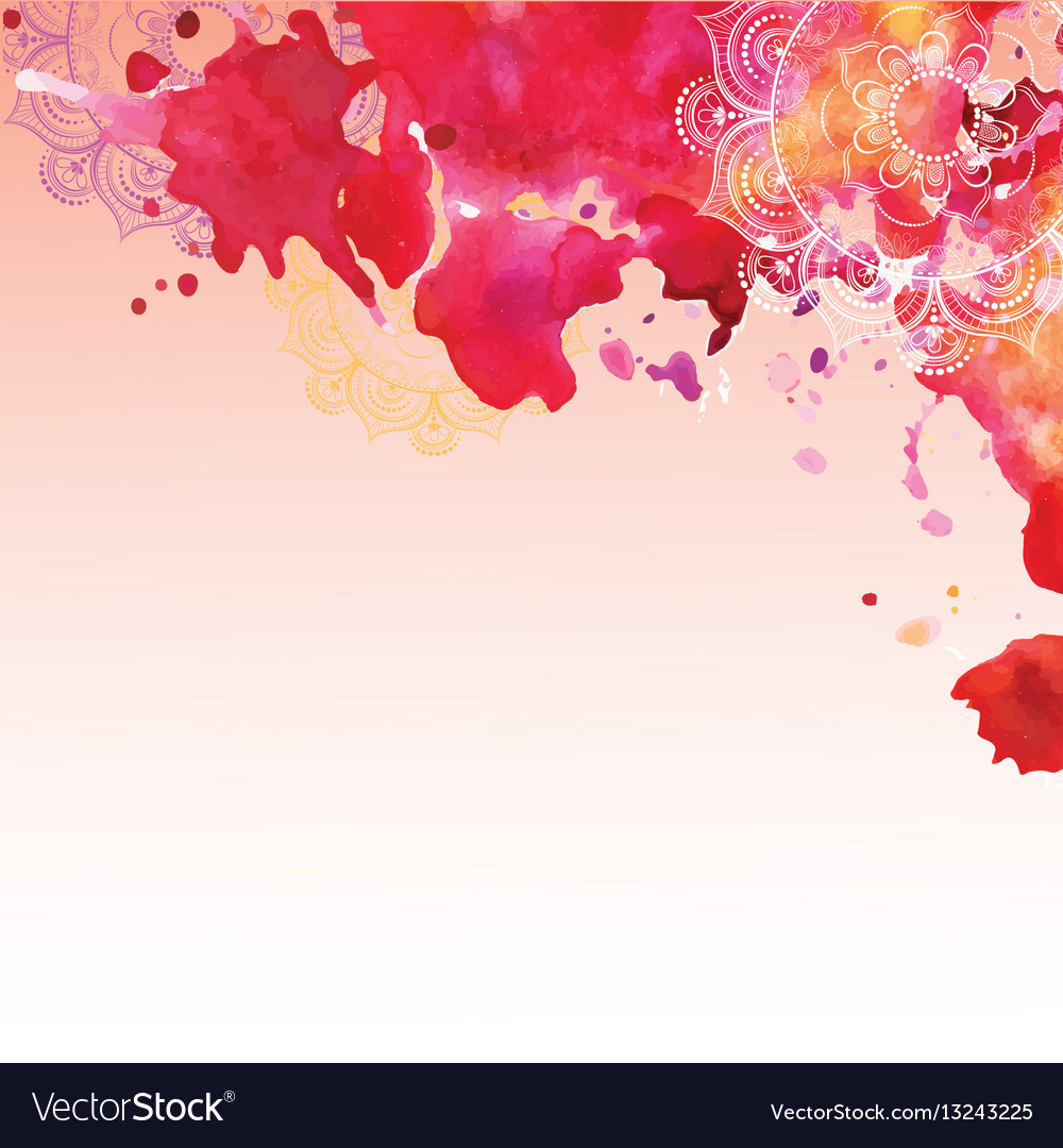 Watercolor background in pink colors vector image
