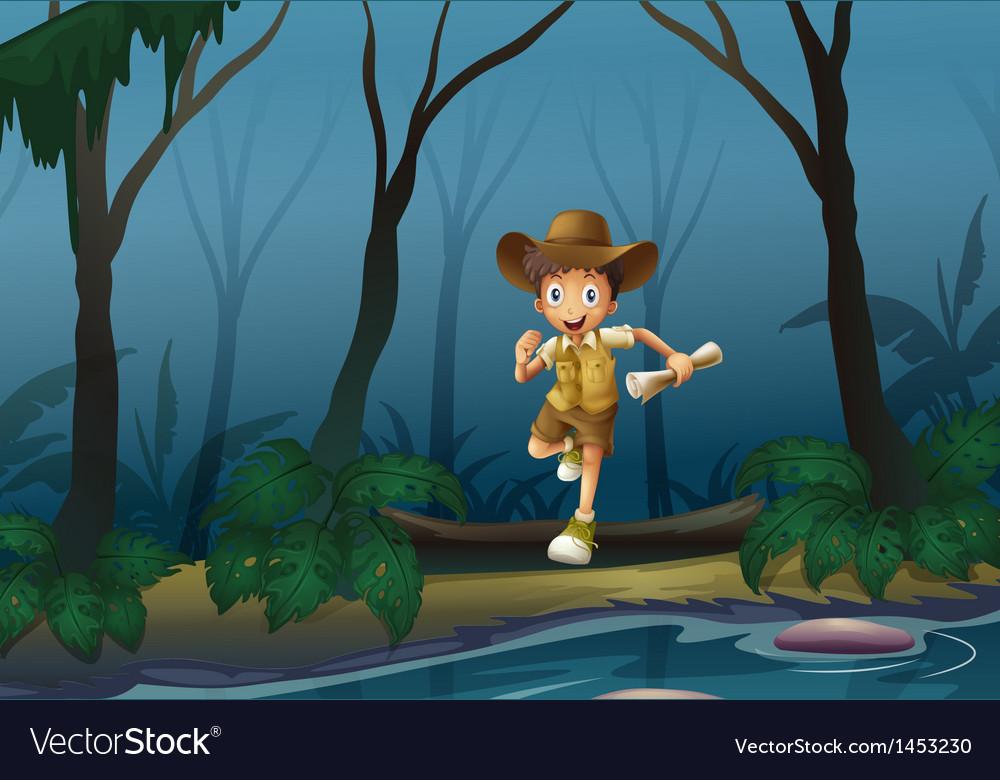 An adventurer in forest