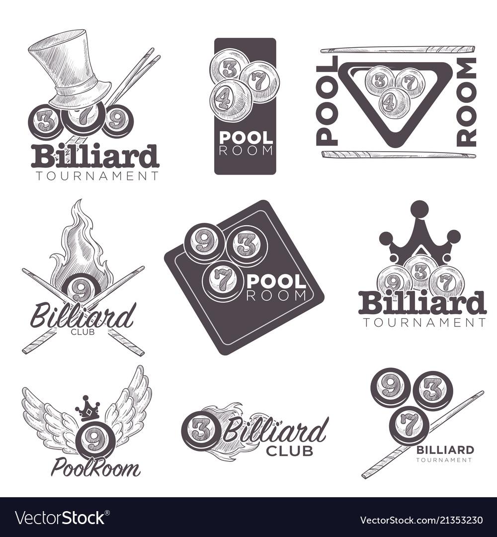 Billiard or poolroom logo retro sketch