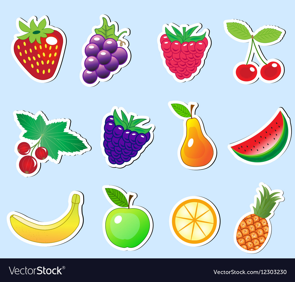 Cute cartoon fruit sticker set Royalty Free Vector Image