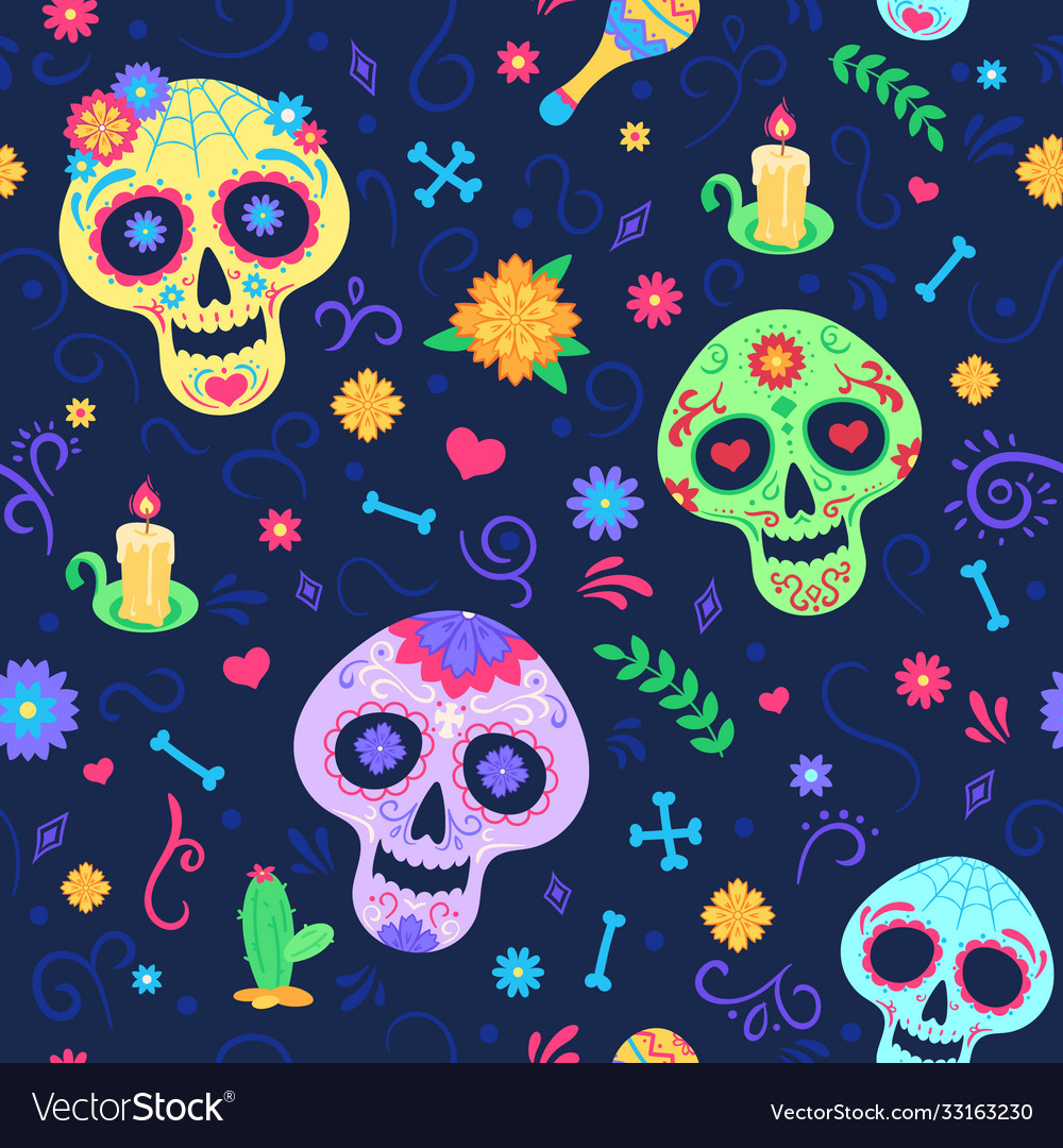 Dia de los muertos pattern dead day holiday