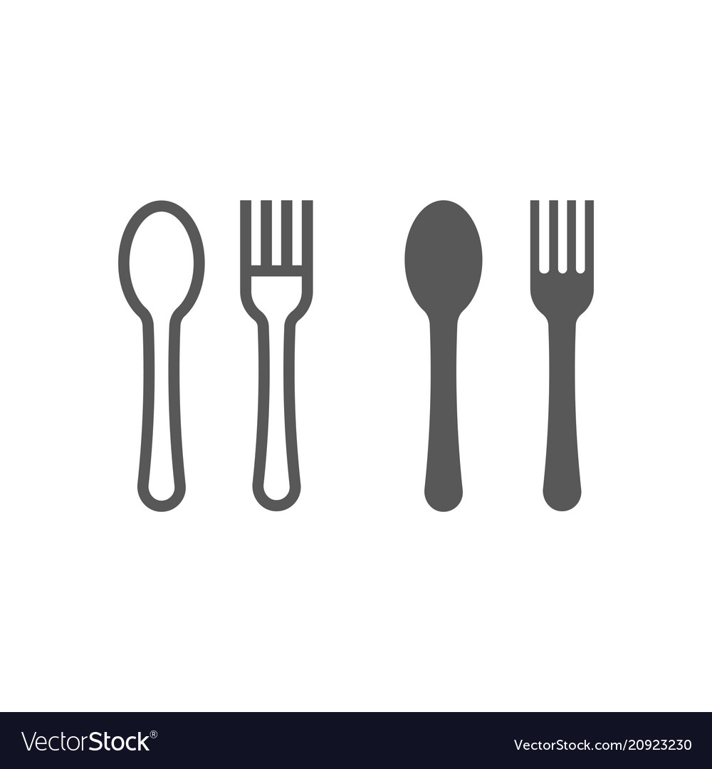 Fork and spoon line and glyph icon kitchen vector image