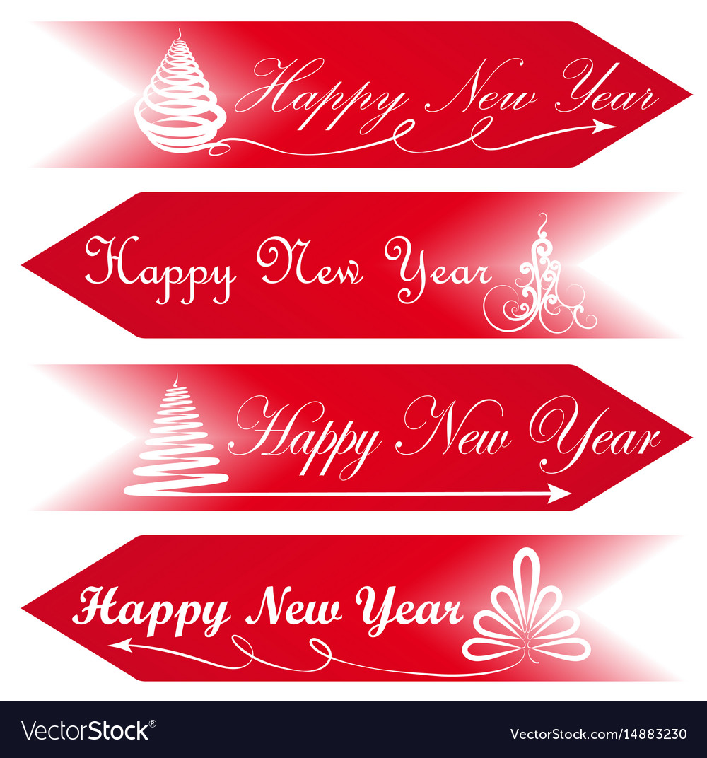 Christmas Arrow Signs.Happy New Year Road Signs Arrows Message Red